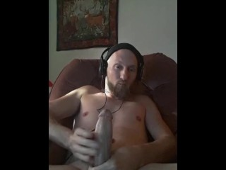 Masterbating watching porn with big dick