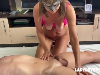 'Milf caressing her stepson suck and drain his balls'