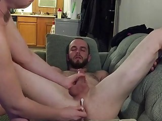 Sexy milf milks lucky guys prostate and cock
