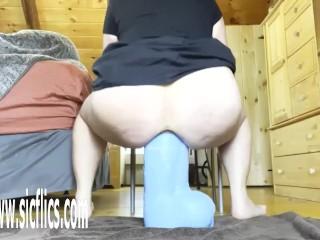 'Slut wife fucks her greedy hole with a colossal dildo insanely deep'