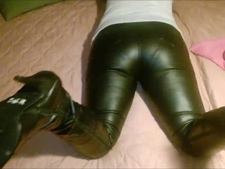 My wifey in taut leather trousers and tear up me shoes