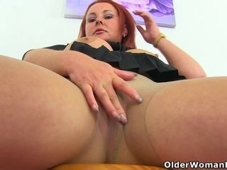 English plus-size Sarah Jane gets active with a fake penis in douche