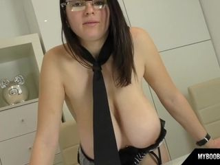 talia amanda as secretary in sexy lingerie put big boobs on desk