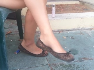 Slum cougar with killer gams hanging flats