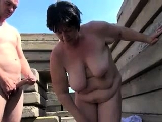 Mature plus-size pulverized outdoor