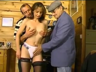 Threesome scene with an old slut and mature guys