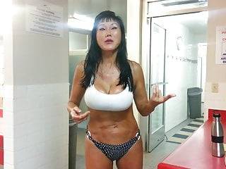 big tit crazy asian lady in sauna 2