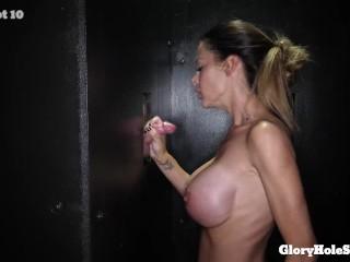 huge titty milf sucks strangers cocks and swallows their facial jizz