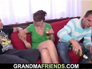 Sotted granny swallows 2 dicks handy on the eve of