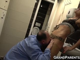 Granny with big boobs gives blowjob on floor like naughty