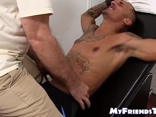 Tied tatted fellow kittled by mature fag freak