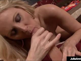 'Big Boobed Julia Ann Bangs Her Trimmed Snatch & Fucks Herself To Orgasm!'
