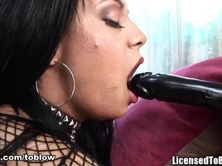 'POV deepthroat & ball sucking ends with her face completely covered in cum'