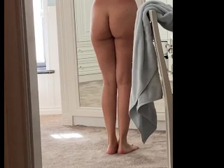 My wife playing with her body at home