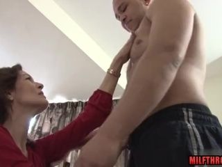 Black-haired cougar blow-job and jism on fun bags