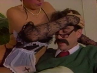 Mature antique tart provides mustached guy with a superb oral