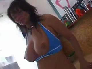 Pierced busty german mature wit a cucumber