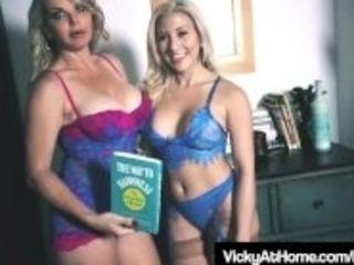 """""""Busty Blonde Milf Vicky Vette Uses Hitachi With Cristi Ann!"""""""