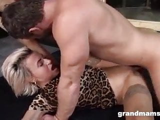 Granny Sanny in nylon fucked by young guy