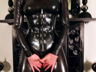 Peppery lubes just about the brush latex catsuit added to rubs the brush succulent gungy pussy