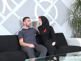 """Hot girlfriend in red and black burka fucked from behind in office"""