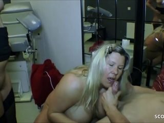 Huge natural Tits Mom and Aunt Seduce StepSon to Fuck German