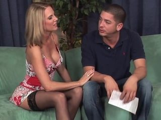 Blonde cougar in stockings  heels fucks guy