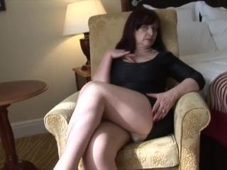 Buxomy Mature stunner in cock-squeezing mini sundress and pantyhose opens up and jerks