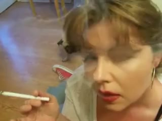 Sexy brunnete milf smoking incredible corks