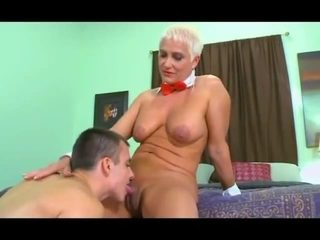 Blonde short haired lady gets her holes penetrated