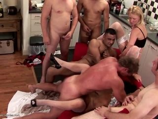Hot old and young group sex with squirting mother