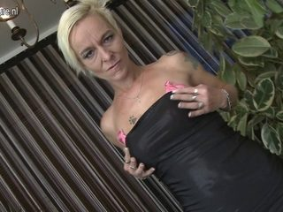 Obscene old blond bitch playing with her dildos