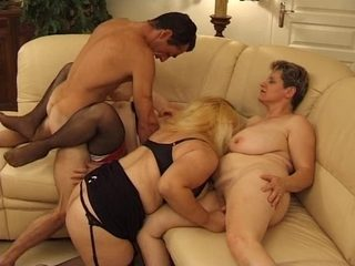 A mature sex orgy with one guy and three busty MILFs