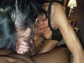 GILF and big black cock raw fellatio