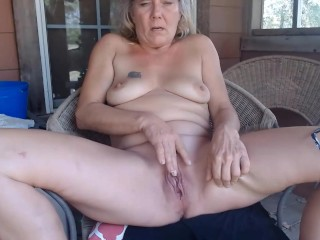 grandmother blonde masturbate her vagina.