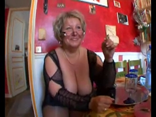 Sexy bald overweight granny in nylons fucking with 2 boyfrends