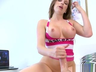 Huge-titted cougar jerks prick with her soles and arms