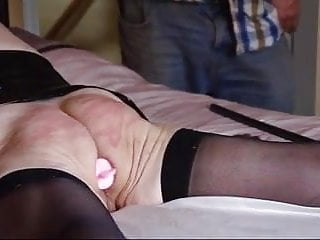 Granny fingered, whipped and caned hard