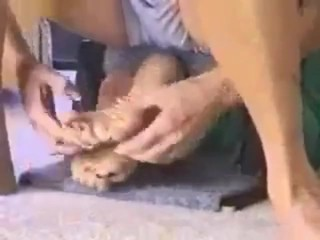 Antique sole Tickling: mommy kittles Daughter's soles