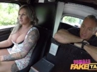 """Female Fake Taxi Passenger is fascinated by her big boobs"""