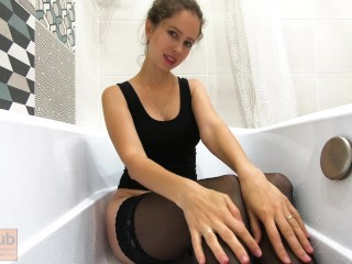 Milf in stockings uses a huge dildo in the shower - CatherineRain