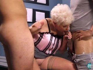 60 Plus cougar Ms. Joy button pulverizing on a 3some