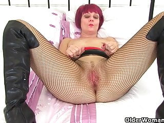 English cougar Skyler is frolicking her hairless and white pearly puss