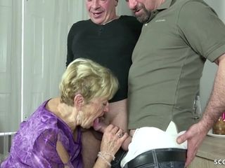 Aged granny lure 2 youthfull men TO penetrate ON HER b-day