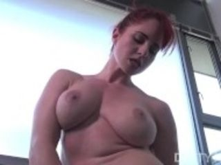 """Fit redhead shows masturbates while doing the splits then fucks herself"""