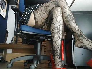 Sexy mature legs in office on hidden camera