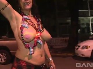 These cheerful women have courage to expose their tits in public