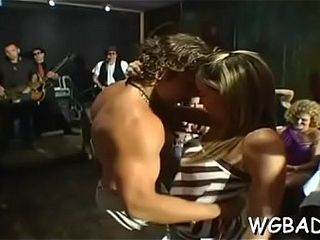 Ultra-cute stripper gets his ramrod delighted by a few gals