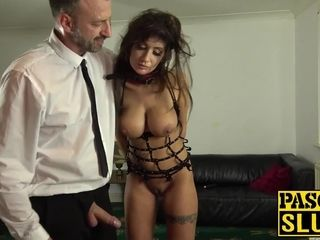 Super-hot cougar subslut ball-gagged and beaten by sir Pascal