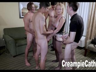 '4 Young Guys Creampie MILF'